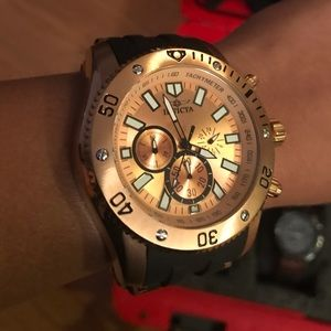 Invicta Rose Gold Men's Watch with Black Band